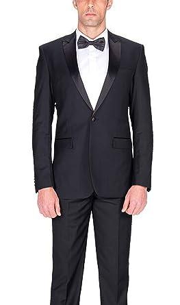 3b322669b3a Image Unavailable. Image not available for. Color: Braveman Slim Fit Solid  Black One Button Tuxedo Tux Suit ...