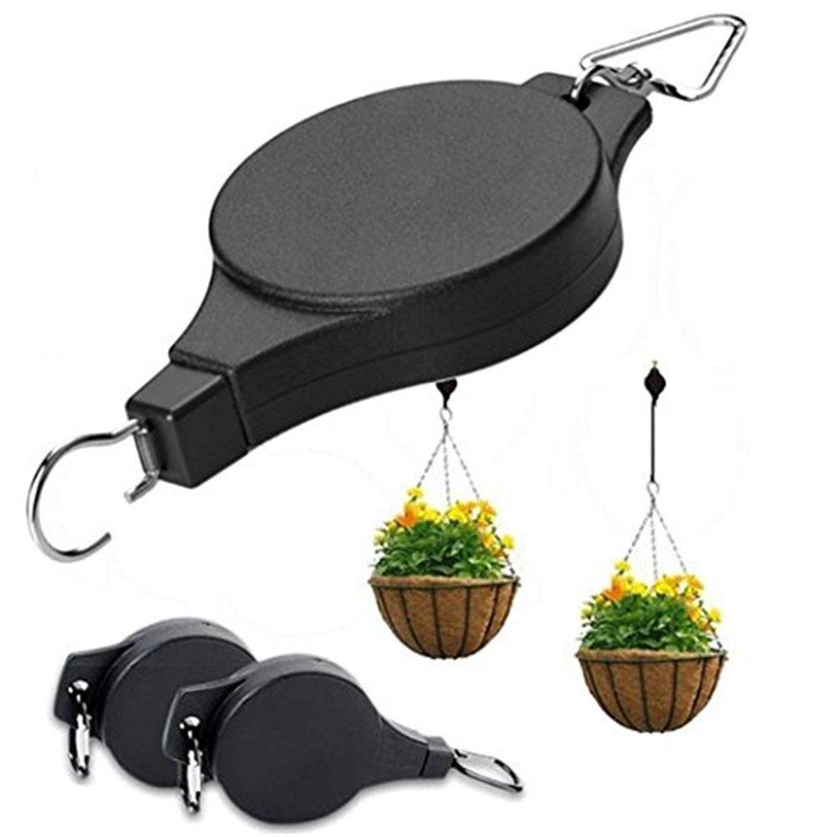 FTXJ Retractable Hanging Basket Pulley Flower Plant Pot Pull Down Hanger Garden Tool (Black (8 x 21.5cm))