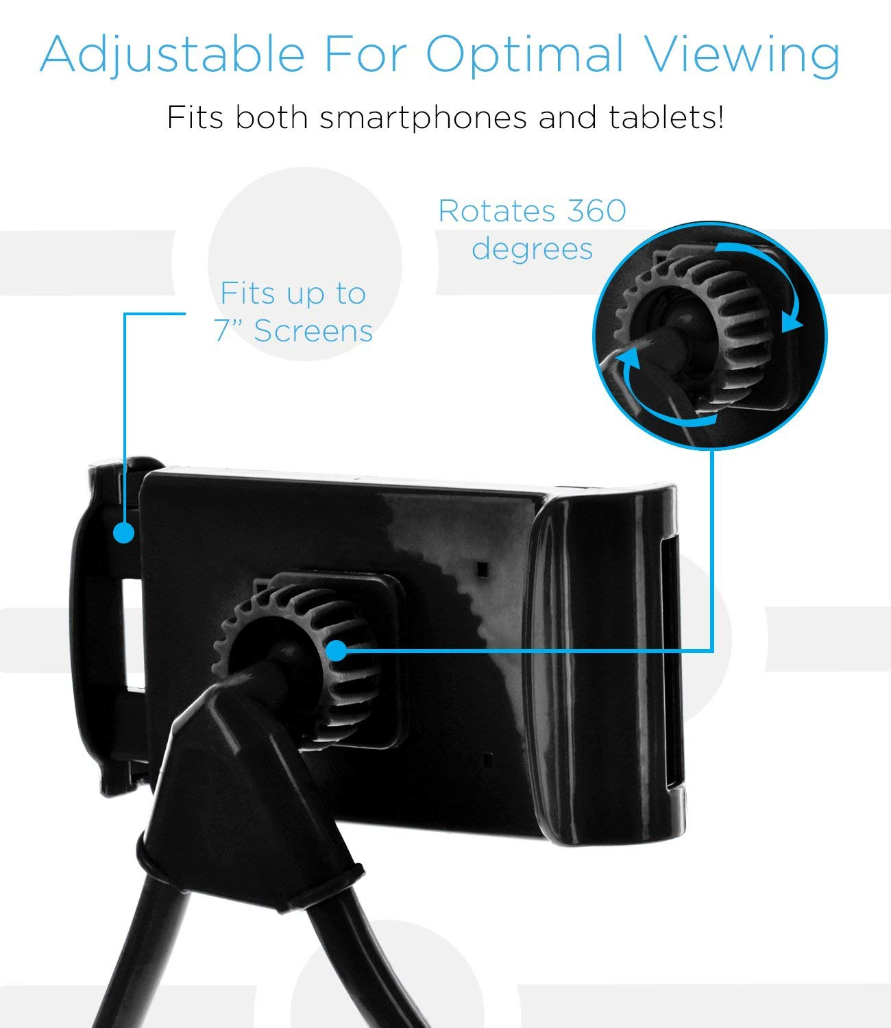 Tekie Cell Phone Holder, Universal Mobile Stand Included Compatible with Apple iPhone Xs XR Max Samsung Note 9 All Androids, Lazy Neck Bracket, Free Rotating Mounts with Multiple Function, Black