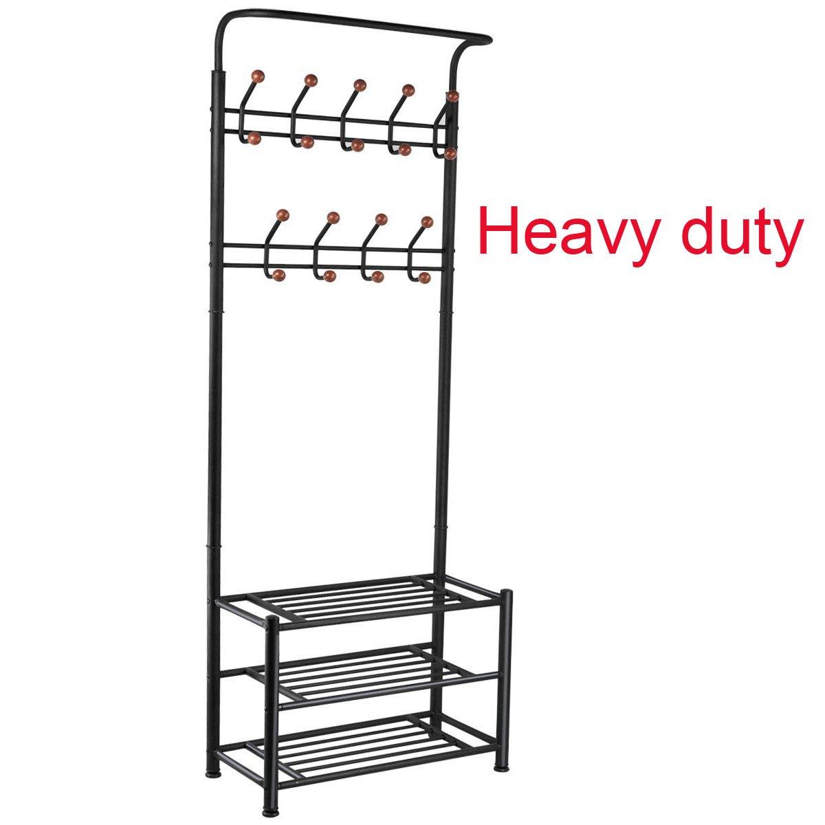 FYHEART Heavy Duty Entryway Hall Coat Shoe Rack 3-tier Shoe Bench Shelves Organizer with Coat Hat Umbrella Rack 18 Hooks for Hallway Entryway Metal,Black