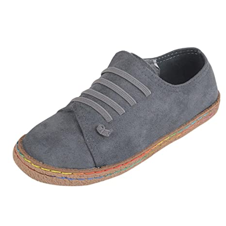 41553069f215c Hunzed Women Fashion Soft Flat Ankle Single Shoe Female Suede Leather  Lace-Up Boots Ladies Casual Leisure Shoes (Gray, 36)