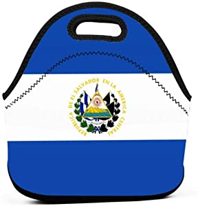El Salvador Flag Polyester Lunch Bag Tote Handbag lunchbox Food Container Gourmet Tote Cooler warm Pouch For School work Office