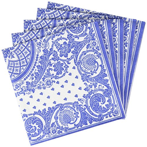 Entertaining with Caspari Jacquard Paper Linen Napkin Luncheon, Blue/White, Pack of 15 (End High Napkins Paper)