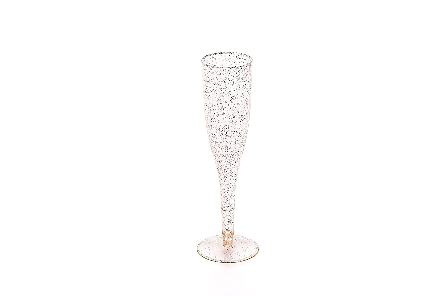 30pc Clear Plastic With Gold Glitter Classicware Glass Like Champagne Wedding Parties Toasting Flutes Oojami