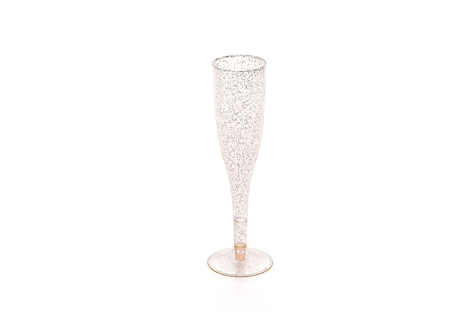30pc Clear Plastic With Gold Glitter Classicware Glass Like Champagne Wedding Parties Toasting Flutes by Oojami (Image #3)