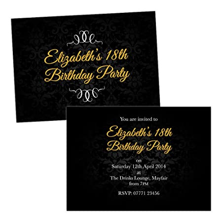 Personalised birthday party invitations gold black damask free draft personalised birthday party invitations gold black damask free draft free envelopes any age 1st stopboris Choice Image
