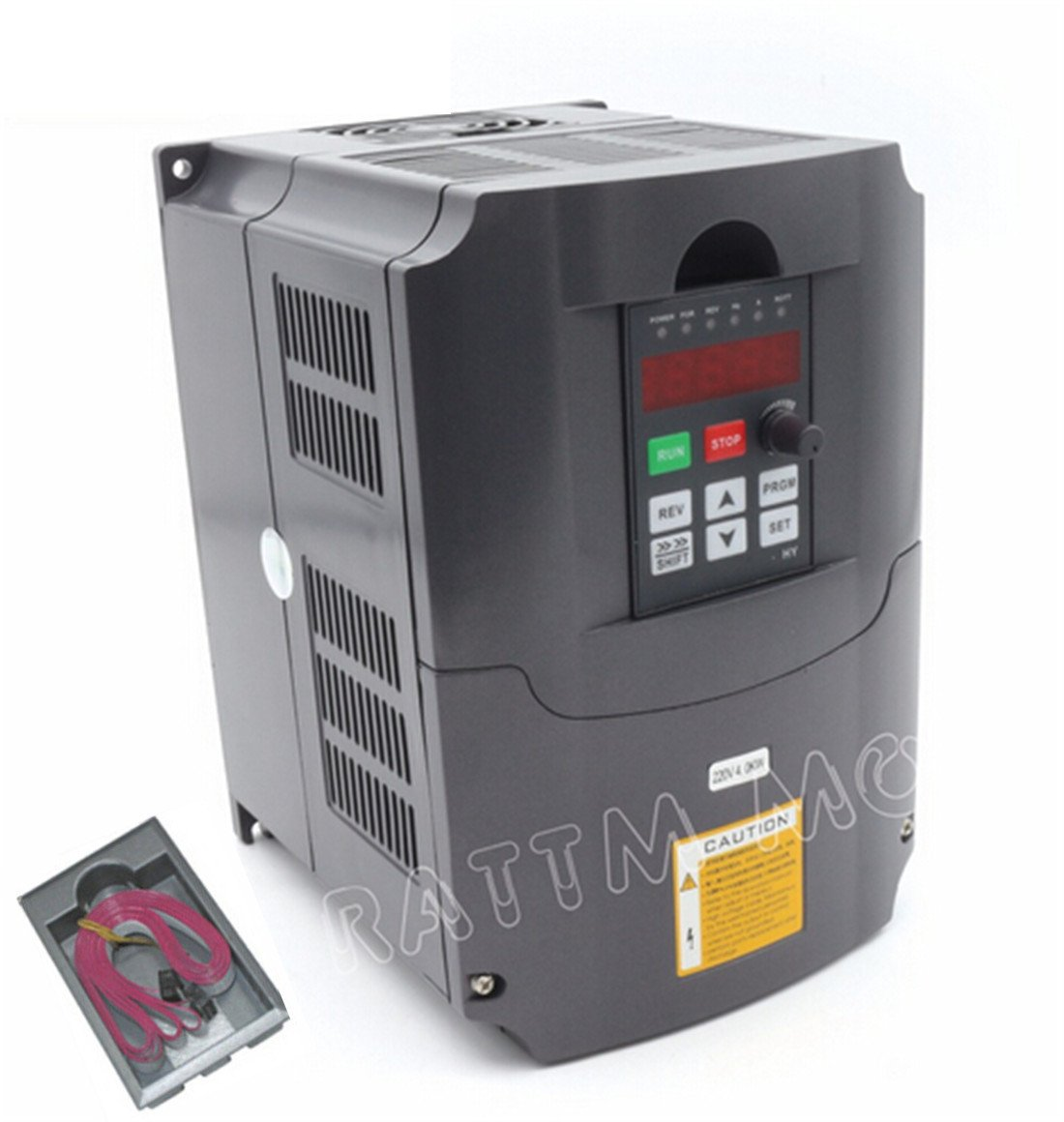 4KW 220V VFD Inverter Variable Frequency Drive Converter Driver Controller 5HP 3-Phase Output 18A VSD with 2m Extension Cable For Spindle Motor Drive Control/CNC Router Engraving Milling Machine by CNCTOPBAOS