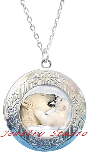 Cute Baby Dog Photo Cabochon Glass Tibet Silver Locket Pendant Necklace