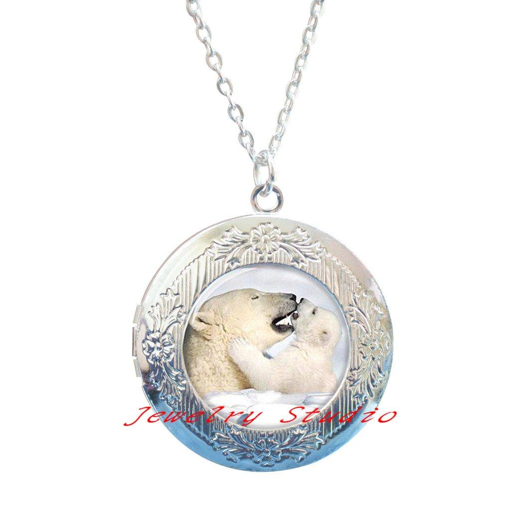 Charming fashion Locket Necklace,Polar Bear Locket Necklace Polar Bear Love Jewelry Mother /& kid bear gift Art photo Locket Pendant,photo jewelry art jewelry glass jewelry-HZ00222