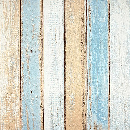 Stripes Self Stick - Wood Contact Paper 17.8in x 16.4ft Wood Peel and Stick Wallpaper Self-Adhesive Removable Wall Covering Decorative Vintage Wood Panel Faux Distressed Wood Plank Wooden Grain Film Vinyl Decal-Stripes