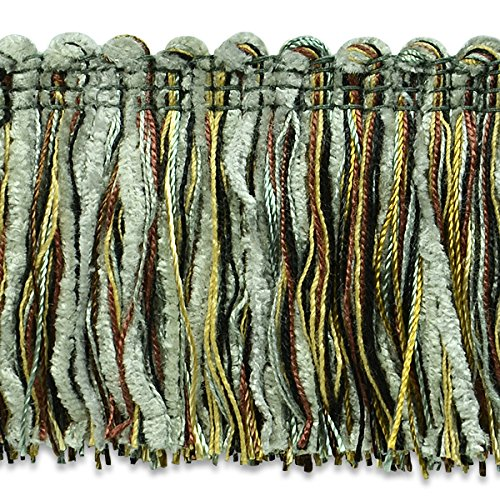 Expo International Chenille Fiber Brush Fringe Trim, 20 yd, Slate/Chocolate