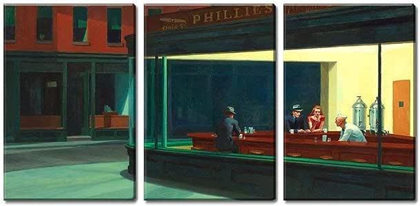 ksjdjok Nighthawks de Edward Hopper - Cuadro Decorativo de Pared de Lienzo (40 x 60 cm, 3 Piezas), sin Marco: Amazon.es: Hogar