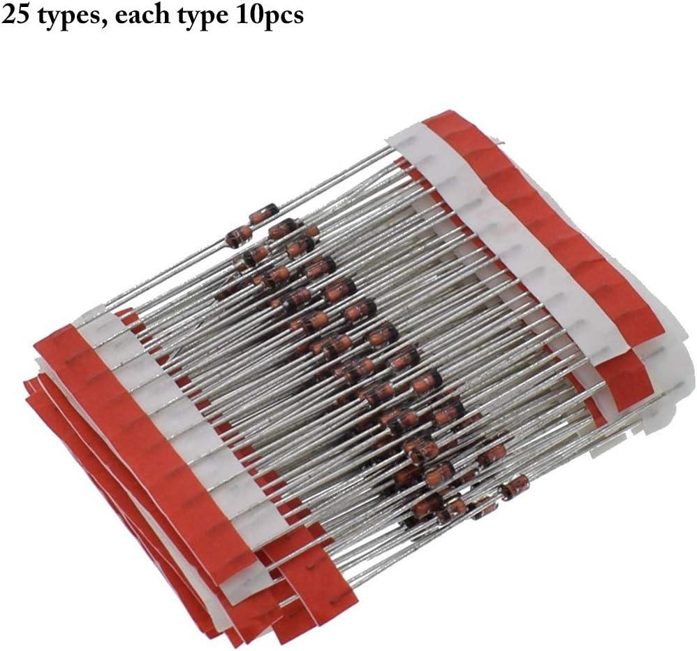 Fansport 250PCS Zener Diode Kit 1W 3V A 33V 25 Valores Zener Diode Set De Surtido