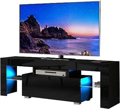 Dripex - Mueble para televisor (130 cm, Acabado Mate, Incluye Luces LED de Color Azul Brillante para televisores de hasta 55 Pulgadas) Negro: Amazon.es: Electrónica