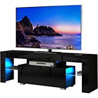 Dripex LED TV Stand - High Gloss Entire Front TV Cabinet - 130cm TV Entertainment Unit Bench Cabinet Cupboard for Living Room (Black)