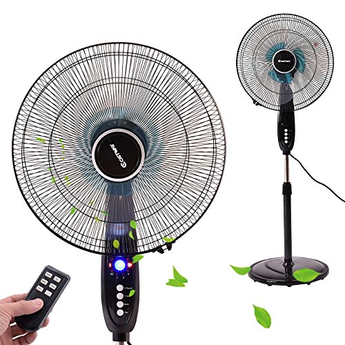 (16''Adjustable Oscillating Pedestal Fan Stand Floor 3 Speed Remote Control Timer)