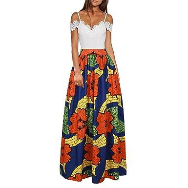 Clocolor Femme Traditionnelle Imprimer Robe Africaine Jupe Longue shCxBtrdQ