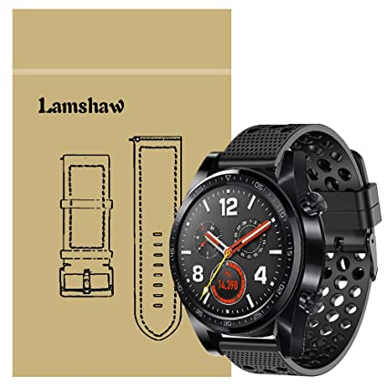 for Huawei Watch GT Band, Lamshaw Silicone Replacement Wristbands Sport Strap with Metal Buckle for Huawei Watch GT Smartwatch (Black)