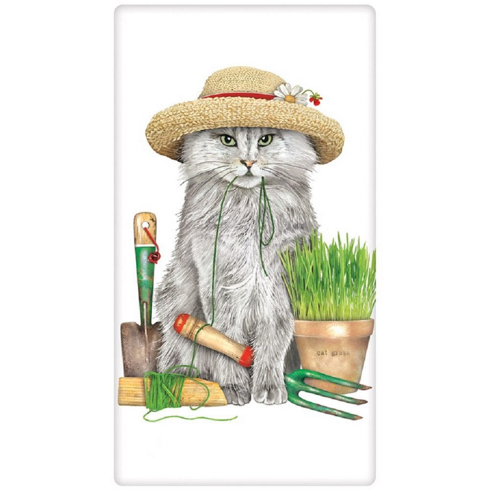 Garden Cat in Hat Mary Lake Thompson Flour Sack Towel