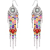 Young & Forever Boho Gypsy Multicolour Oxidized Silver Beads Earrings for Women