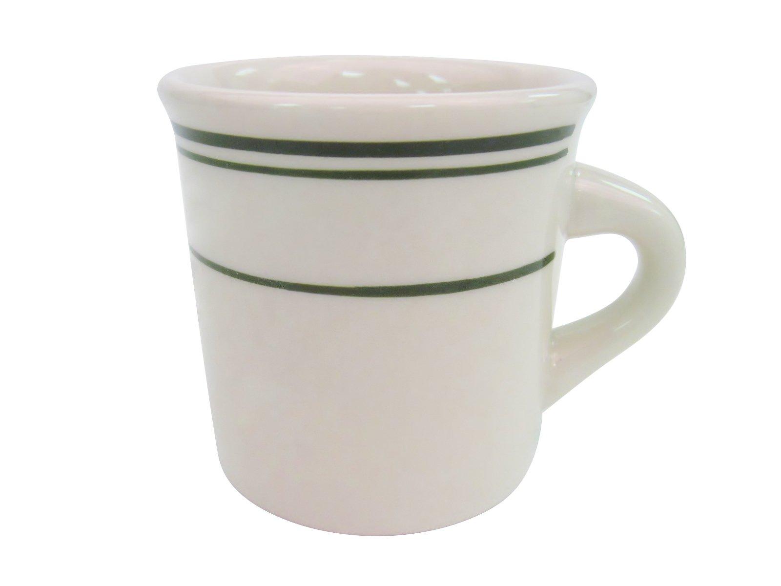 CAC China GS-38 3-3/8-Inch Greenbrier 8-Ounce Green Band Stoneware Mug, American White, Box of 36