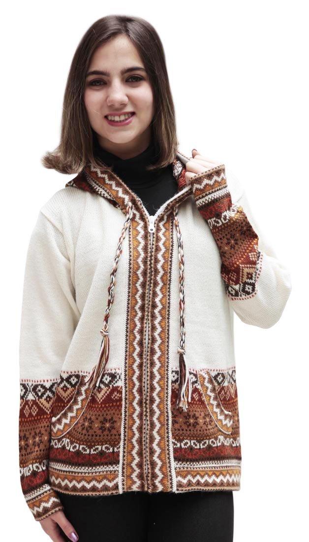 Superfine Handmade Alpaca & Merino Wool Hooded Jacket Hoodie Intarsia Sweater (XLarge, Ivory)
