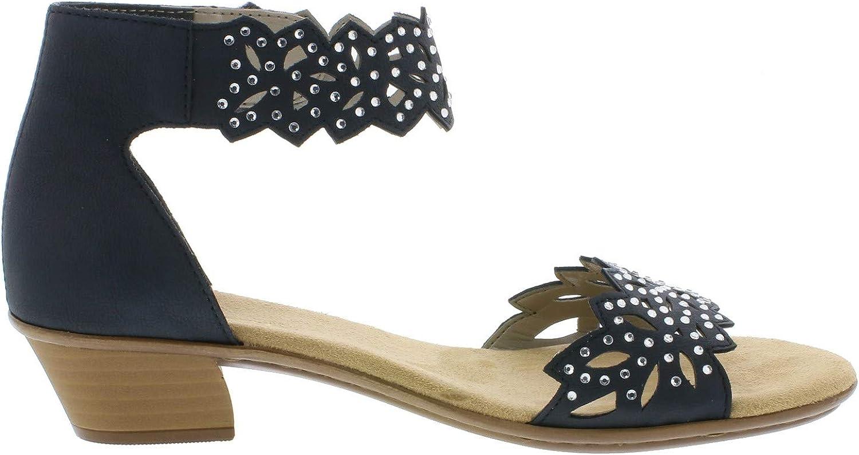 Rieker 68396 Femme Sandales,Chaussures d'été,Sandales d'été,Confortable,Plat