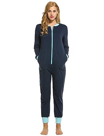 Sweetnight Women Long Sleeve Sleepwear V Neck Nightwear Pajamas Onesies Playsuit for Adults (S, Nave Blue)