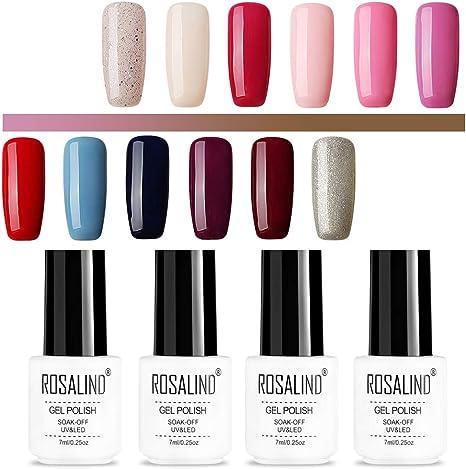 ROSALIND color gel esmalte de uñas semipermanente de larga duración empapado de lámpara LED UV 12 pack 7 ml: Amazon.es: Belleza