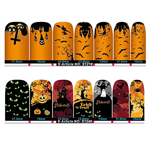 South Weekend 2pc Halloween Skull Bone Sticker Watermark Tattoos Nail Art Tips 2018 (D)