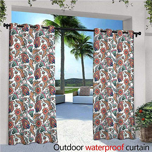 cobeDecor Paisley Exterior/Outside Curtains Classical Tribal Motifs with Flower Leafs and Other Ornamental Details Image for Patio Light Block Heat Out Water Proof Drape W108 x L96 Multi Colored