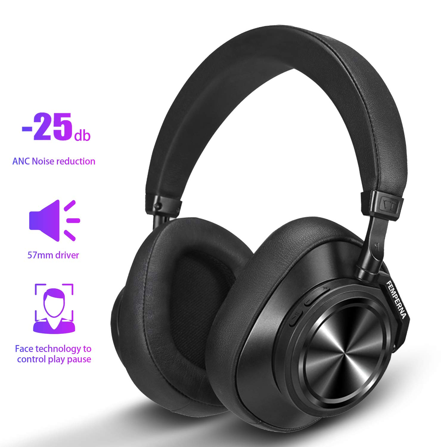 Active Noise Cancelling Headphones Wireless Over Ear Headphones, FEMPERNA Bluetooth Headphones with Microphone, Hi-Fi Sound Deep Bass, Soft Protein Earpads, 30H Playtime for Work Travel
