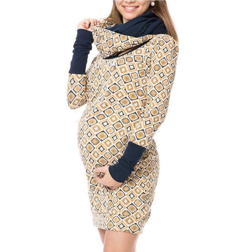 Women's Maternity Kangaroo Hoodie Fleece Sweatshirt Hoodie Coat Jacket for Mom and Baby Carrier