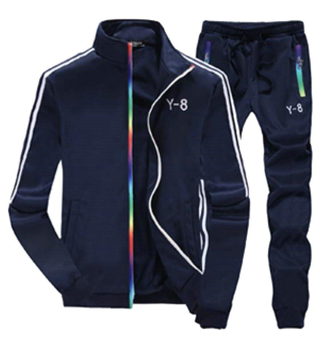Dark blueee Medium Cromoncent Men's Stand Collar Striped Sweatshirt Sport Casual Jacket Coat and Pants Tracksuit Set