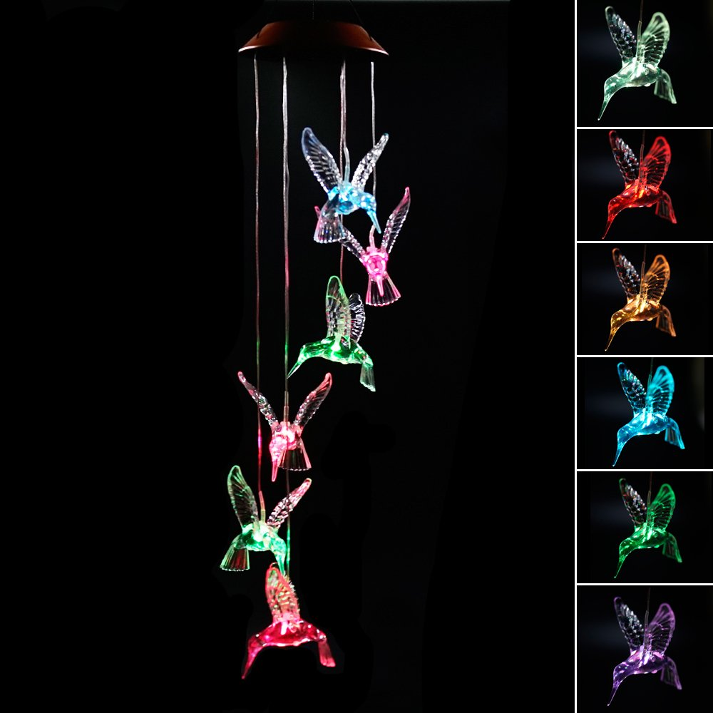 Clear Animal Solar Operated Mobile Wind Spinner Color Changing Wind Chime Light (Hummingbird)