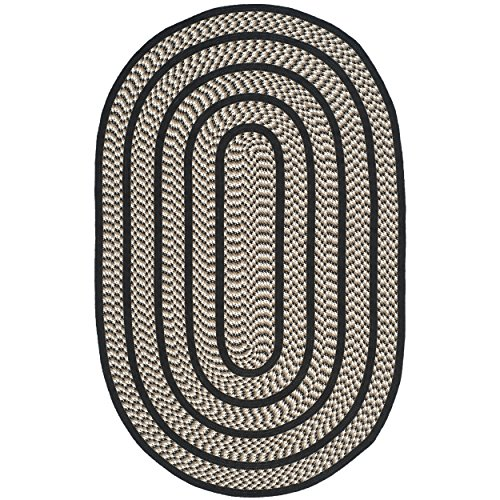 Braided Rug Black Oval - Safavieh Braided Collection BRD401C Hand Woven Ivory and Black Oval Area Rug (5' x 8' Oval)