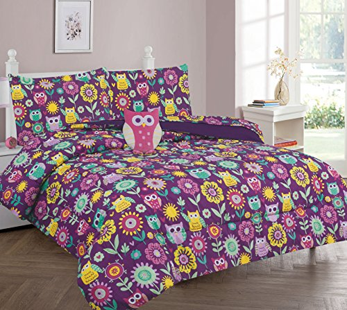 MB Home Collection Twin Size 6 pieces Printed Purple, Yellow, Pink Owls with Yellow, Pink Purple and Light Design Comforter, Sheet Set with 1 Pillow Cushion Toy # Purple Owl Twin 6 Pcs Comforter (Twin Set Printed)