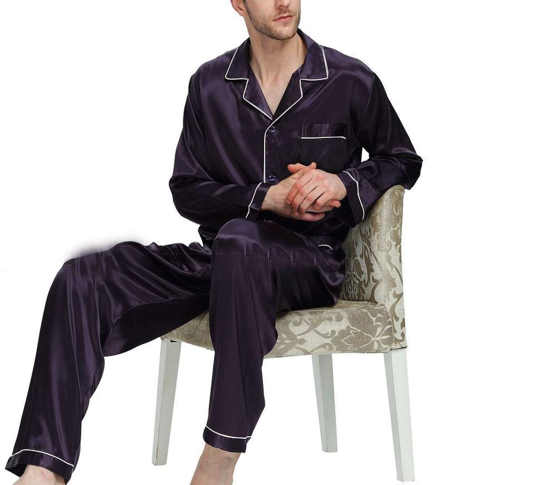Mens Silk Satin Pajamas Set Pajama Pyjamas Set Sleepwear Loungewear,Purple,S