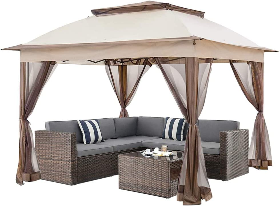 c chain 11 x11 pop up gazebo with airiness netting outdoor canopy tent gazebo for patio deck and backyard w a carry bag khaki