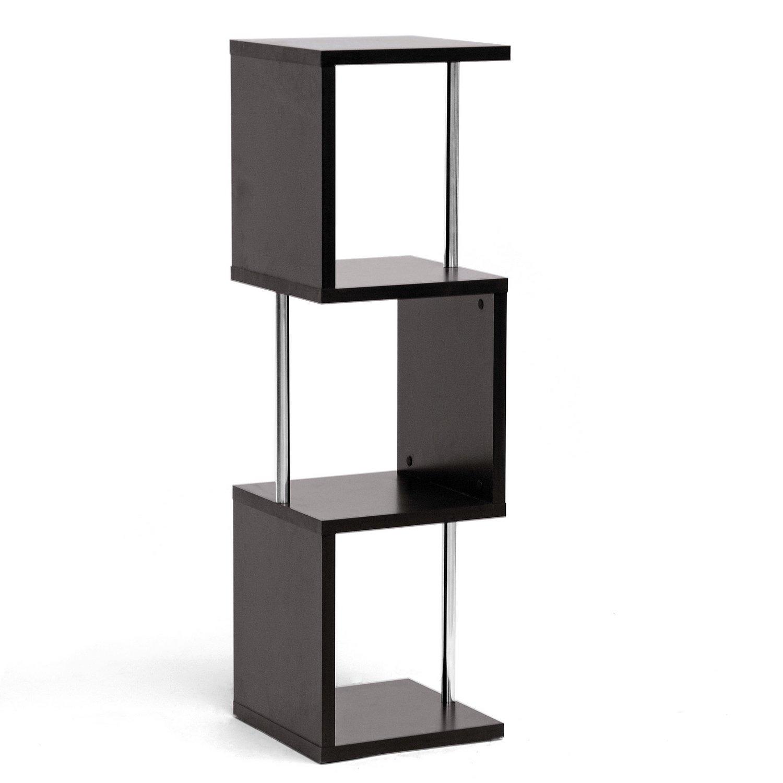 Baxton Studio Lindy 3-Tier Modern Display Shelf, Cappuccino