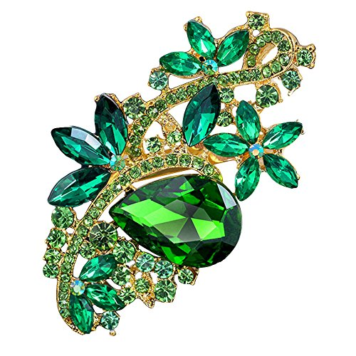 Green Womens Brooch - SANWOOD Luxury Waterdrop Flower Brooch Rhinestone Broach Pin Crystal Breastpin (Golden + Green)