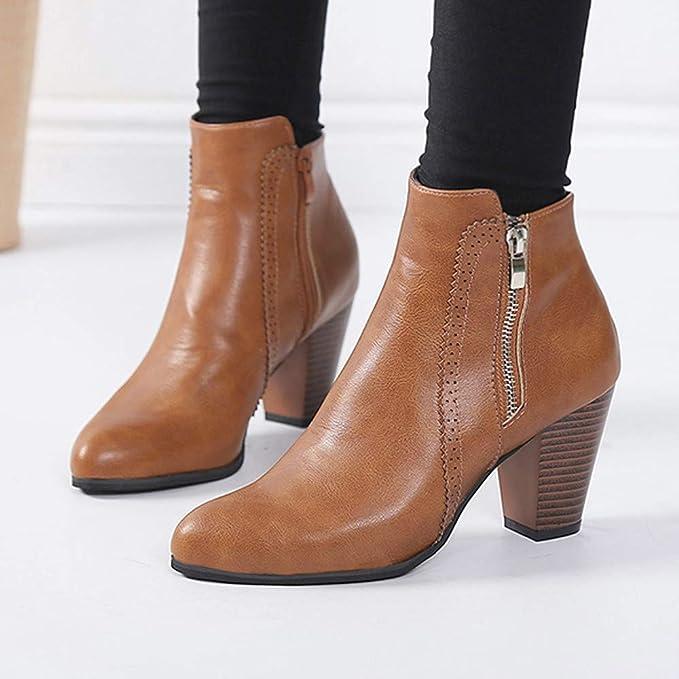 ❤ Botas de tacón Corto para Mujer, Zapatos de tacón Grueso para Mujer, de tacón Grueso, de Bota Corta, Botines con Cremallera Absolute: Amazon.es: Ropa y ...
