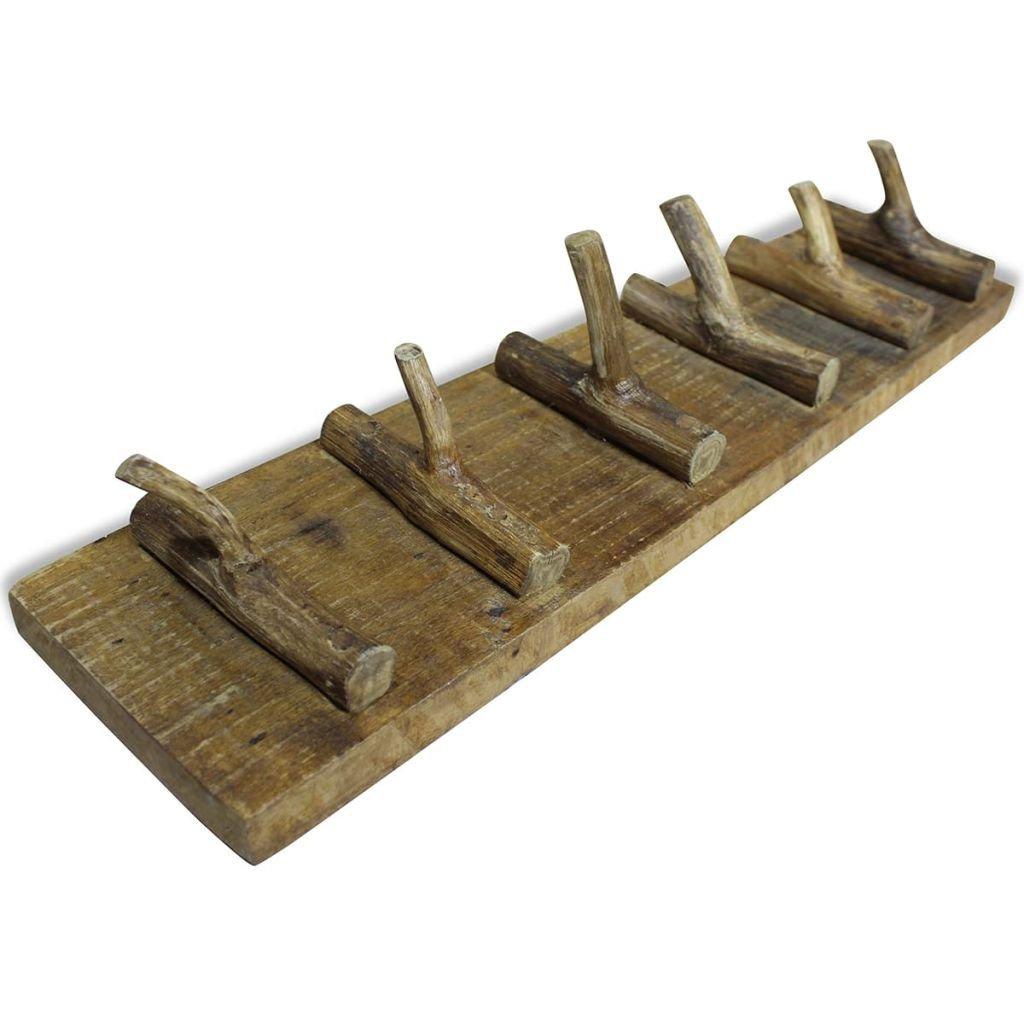 Material de Madera Maciza Reciclada 60x15 cm Festnight Perchero con 6 Ganchos