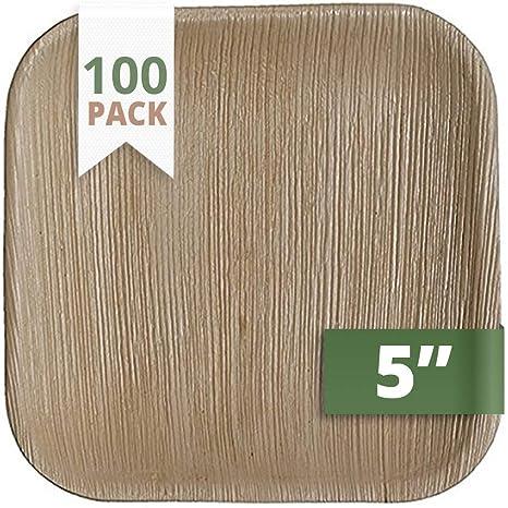 Amazon.com: CaterEco Platos cuadrados de hoja de palma de 10 ...