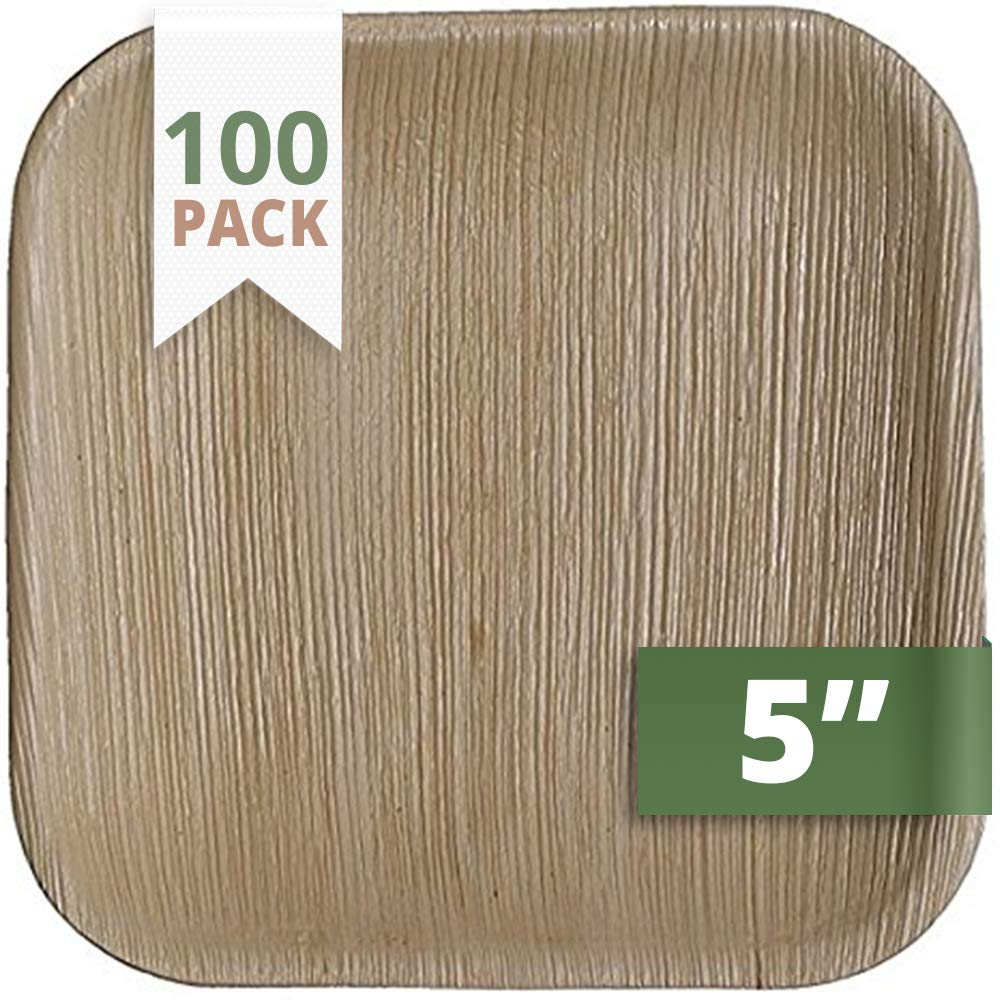 CaterEco 5-inch Square Palm Leaf Plates Set (100 Pack) | Ecofriendly Disposable Dinnerware | Heavy Duty Biodegradable Party Utensils for Wedding, Camping & More