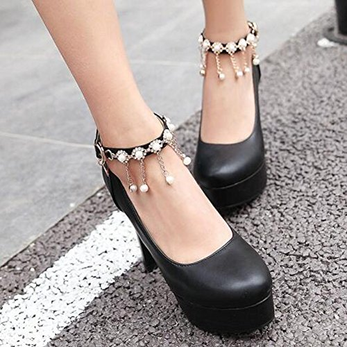 Chunky Heel Ankle Round Black Rhinestones Womens Strap Platform Trendy Easemax Buckle Shoes Pumps Toe High nRwHvwx