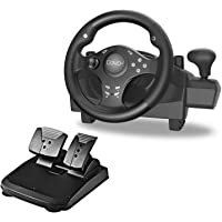 Gaming Racing Wheel with Responsive Gear and Pedals, 270 Degree Rotation Pro Sport, Compatible with PC / PS3 / PS4…