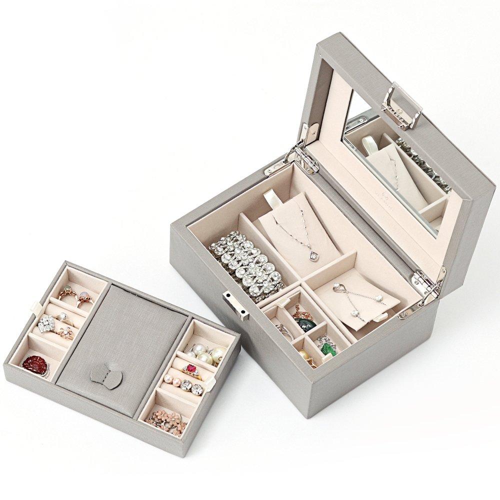 Vlando Wooden Jewelry Box, Jewelry Organizer and Storage- Grey by Vlando