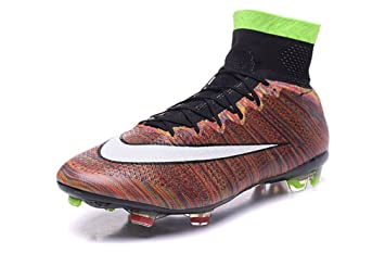 b8f00b26877 Image Unavailable. Image not available for. Colour  Mens Mercurial Superfly  IV FG With ACC Leather FG Rainbow High Top Football Shoes Soccer Boots