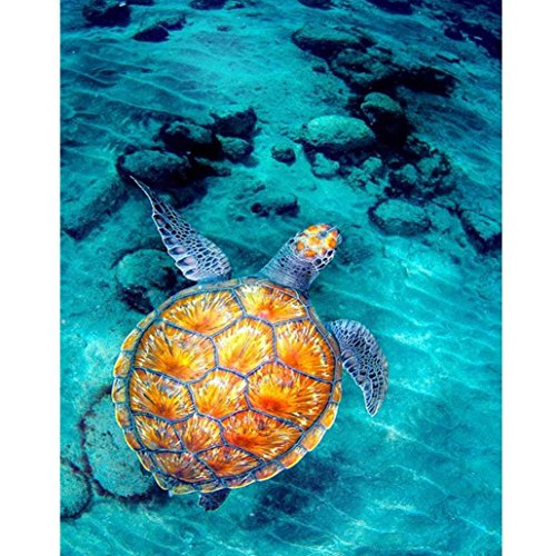 Cinhent Diamond Painting, 5D DIY Embroidery Part Round Hourglass Cross Stitch, Golden Turtle Swimming in The Clear Water - 30 x 40CM, DIY Hotel/Restaurant Wall Decorations ()